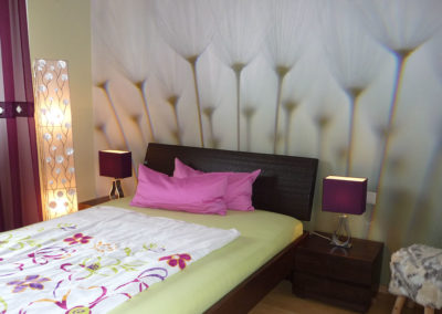 Schlafzimmer mit Fototapete