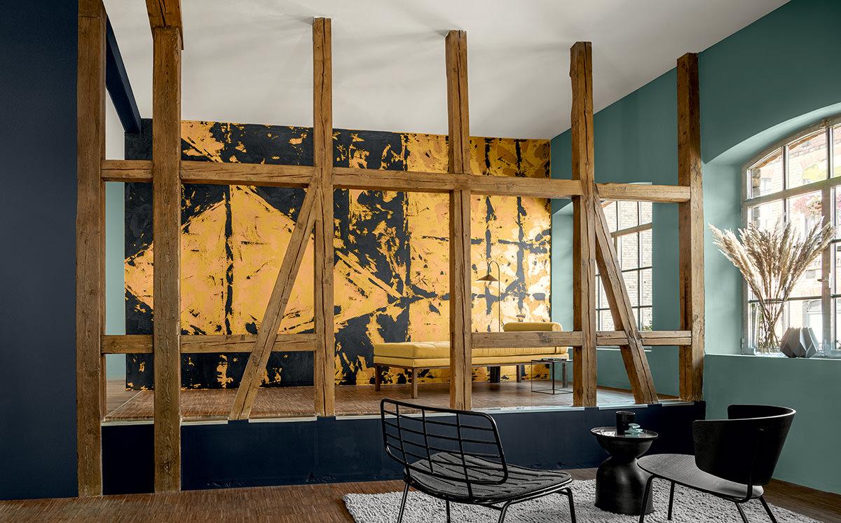 Experimentelle Oberfläche - Farben Palazzo, Amber, Venato und Tintenschwarz